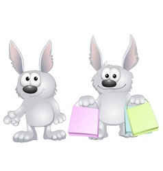 Funny rabbits vector