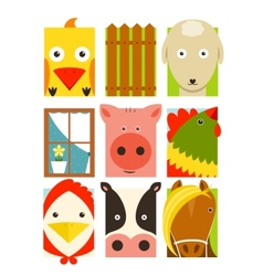 Flat childish rectangular cattle farm animals set vector