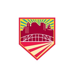Skyscrapers and bridge retro crest vector