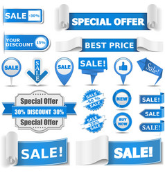 Blue sale banners vector