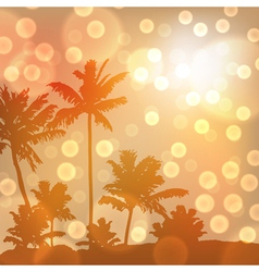 Sea sunset with island and palm trees vector