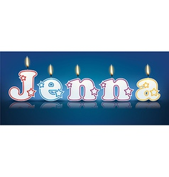 Jenna written with burning candles vector