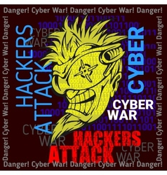 Hackers attack - cyber war sign on digital binary vector