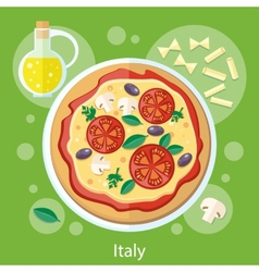 Pizza with its ingredients vector