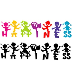 Doodle children with happiness text vector