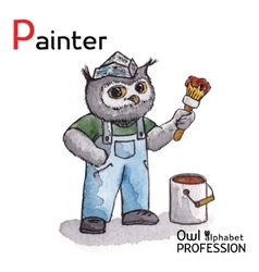 Alphabet professions owl letter p - painter vector