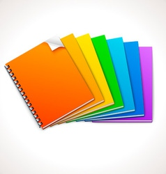 Spiral ring notebooks rainbow vector