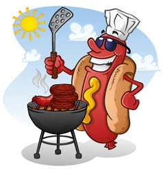 Hot dog cartoon character grilling vector