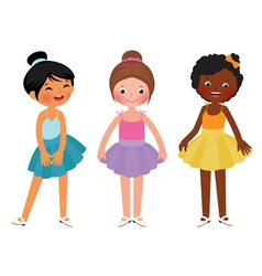 Little girls different ethnic dancer vector