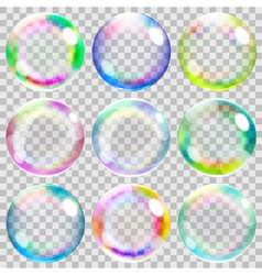 Multicolored transparent soap bubbles vector