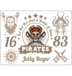 Jolly roger - pirate design elements set vector