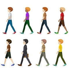 Eight gentlemen walking without faces vector
