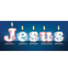 Jesus written with burning candles vector