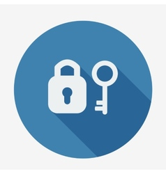 Single flat icon with long shadow key and padlock vector