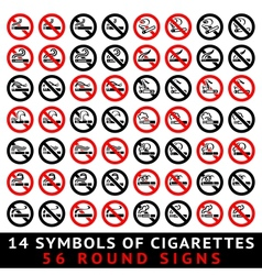 13 symbols of cigarettes 52 round signs vector