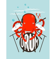 Red octopus playing drums vector