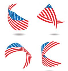 Us flag ribbon vector