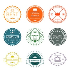 Set of premium quality labels and badges vector