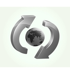 Grey recycling symbol with earth vector