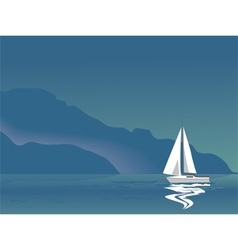 Seascape with sailboat vector