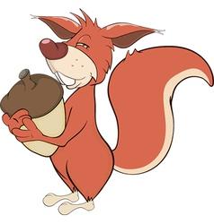 Squirrel with an acorn cartoon vector