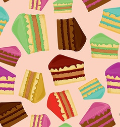 Seamless pattern with pieces of cakes vector