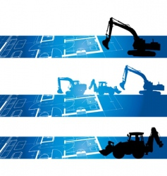Architectural drawings digger vector