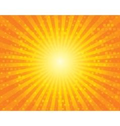 Sun sunburst pattern with squares orange sky vector