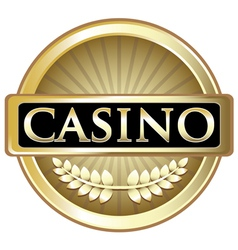 Casino gold label vector