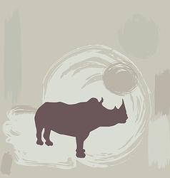 Rhino silhouette on grunge background vector