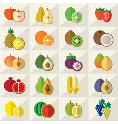 Fruits sweets icons set vector