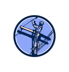 Power lineman repairman climb pole retro circle vector