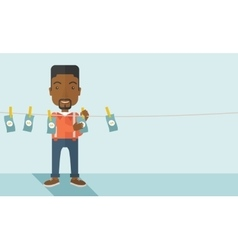 Black buisnessman hang his money vector