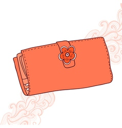 Wallet with flower and abstract grange backgroun vector