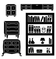 Set silhouettes of cupboard chests and bookshelf vector