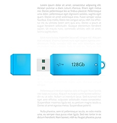 Blue usb flash drive vector