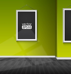 Blank paper frame on green wall vector