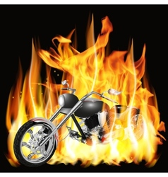 Chopper with flames vector