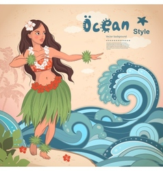 Retro style hawaiian beautiful hula girl vector