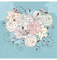 Romantic floral heart vector