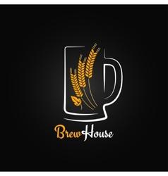 Beer bottle glass barley design menu background vector
