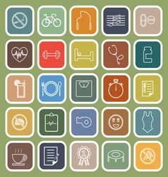 Wellness line flat icons on green background vector