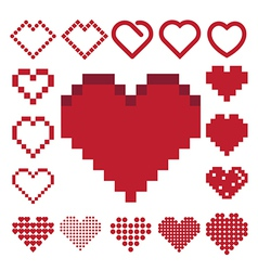 Red heart icon set vector