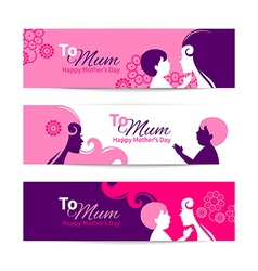 Banners for happy mothers day vector