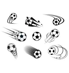Fflying soccer balls set vector