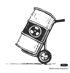 Nuclear waste in a barrel vector