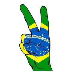 Peace sign of the brazilian flag vector