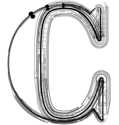 Technical typography letter c vector