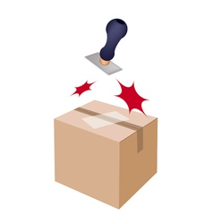 Rubber stamp on a brown cardboard box vector