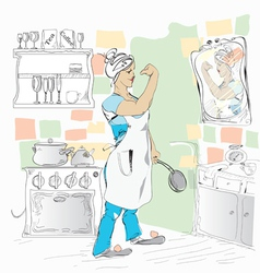 Woman in a kitchen vector